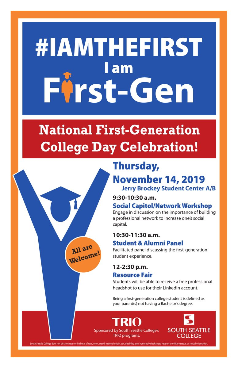 In honor of National First First-Generation College Student Day, TRIO invites all students, faculty and staff to a First-Gen Celebration this Thurs (11/14). Events include a panel discussion, workshops and networking events. #IAMTHEFIRST #CelebrateFirstGen #firstgenday
