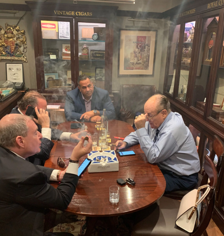 "A note to followers: this account will, for the foreseeable future, be devoted exclusively to analysis of this incredible new photo of Rudy Giuliani with Lev Parnas, Igor Fruman and a third ""unnamed associate"""