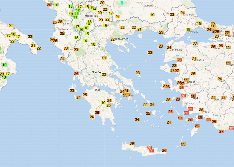 Παρά ένας τριάκοντα ...βαθμοί Κελσίου στην Κρήτη.