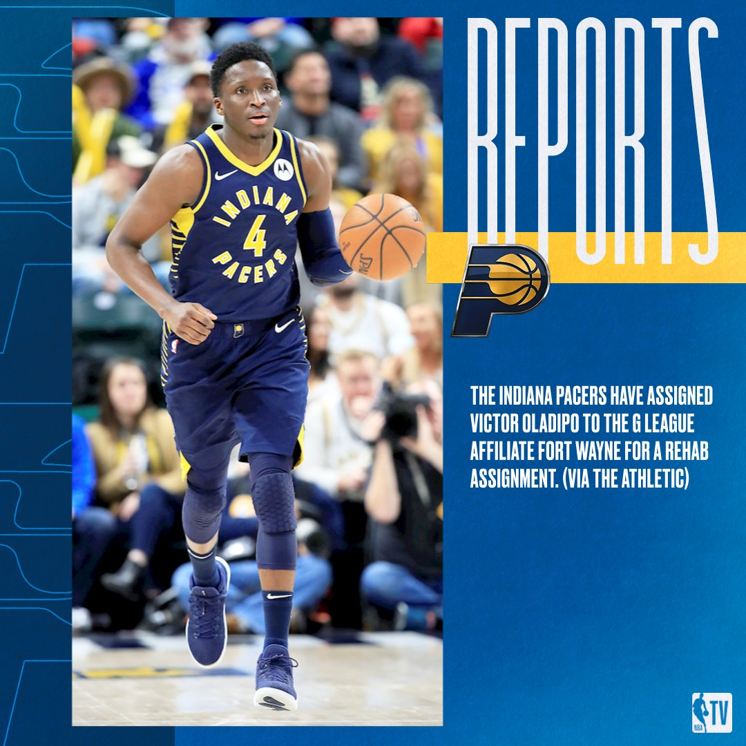 Reports: The Indiana Pacers have assigned Victor Oladipo to the G League affiliate Fort Wayne as he continues to rehab his knee. (via The Athletic)   Read more: https://on.nba.com/34SFJlR