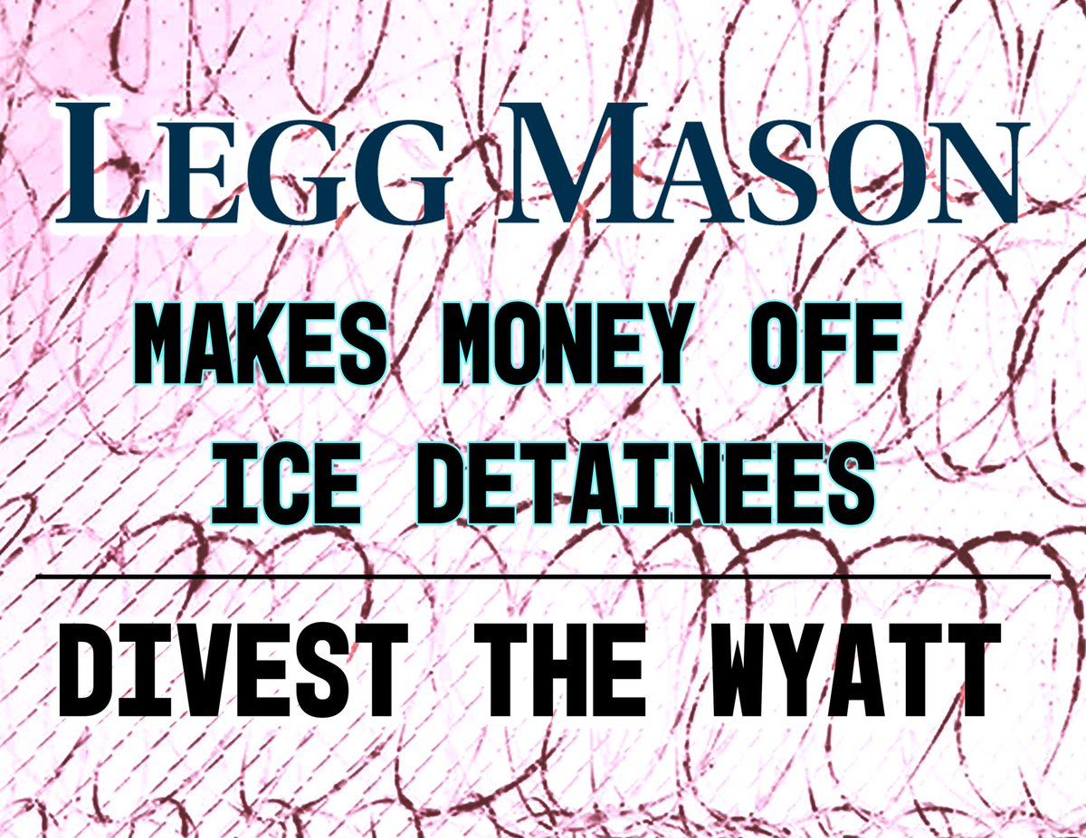 Wyatt bondholder @LeggMason claims to support community well-being, but profits off family separation. Which side are you really on? #DumpTheWyatt HQ: 877-534-4627