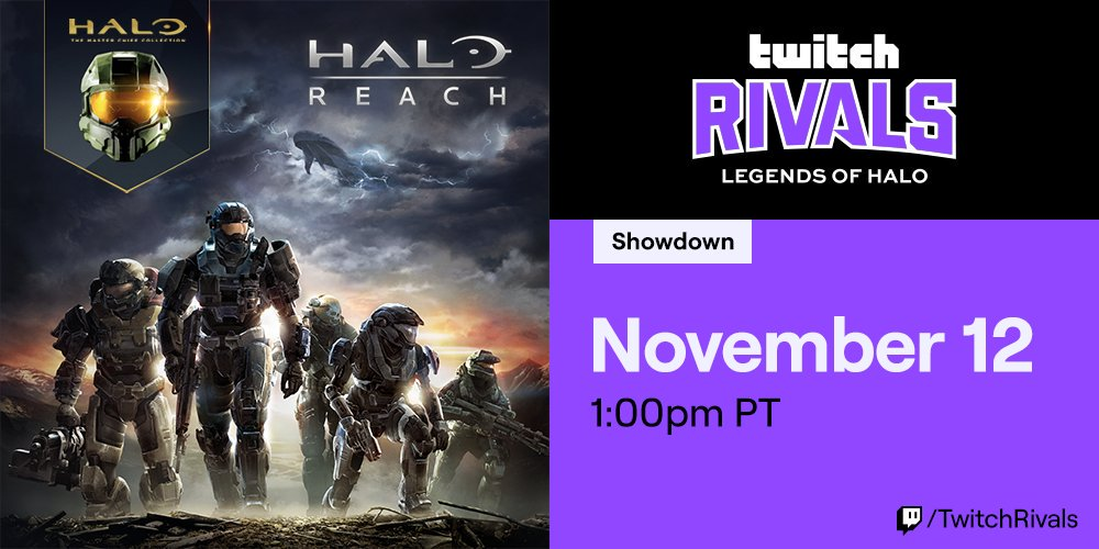 Twitch Rivals: Legends of Halo starts today at 1pm PT. Tune in as legendary @Halo pros and @Twitchs top streamers duke it out in Halo: Reach on PC! twitch.tv/twitchrivals