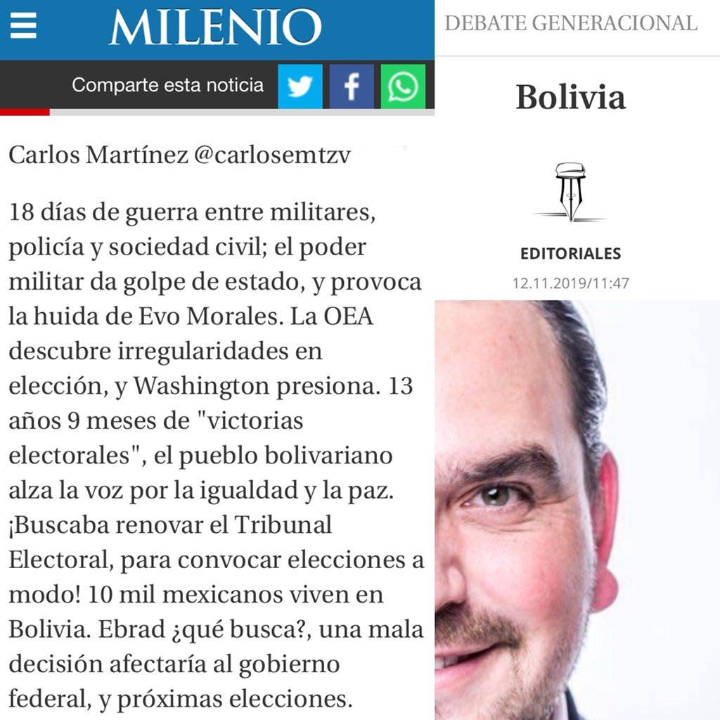 """Te invito a leer el espacio de #DebateGeneracional, como todos los Martes en Milenio Diario Jalisco, el día de hoy! Tema: """"Bolivia""""... ¿Cuál es tu opinión? #Milenio #Martes #Jalisco #Mexico #Bolivia #EvoMorales #Instagram @MilenioJalisco"""