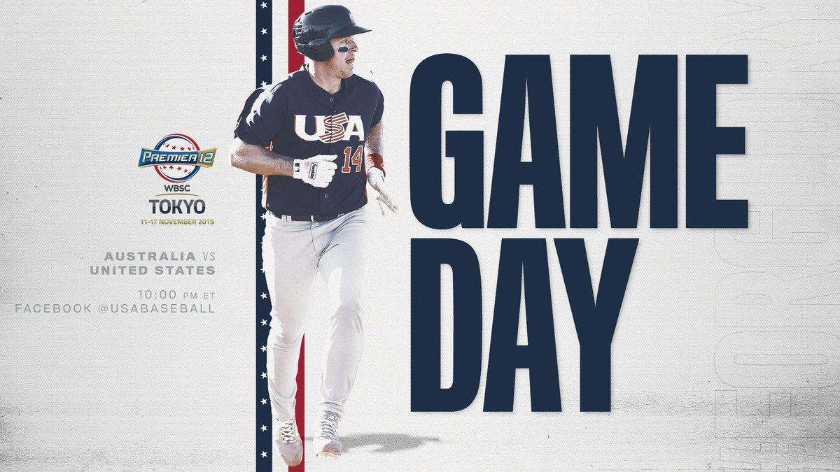 Rest up. Were back to work tonight. #ForGlory🇺🇸 ⚾️: USA vs. Australia 📍: Tokyo, Japan 🏟: Tokyo Dome ⏰: 10:00 p.m. ET 📊: bit.ly/P12Stats_AUSvU… 🎥: Facebook.com/USABaseball 📝: bit.ly/P12_AUSvUSA