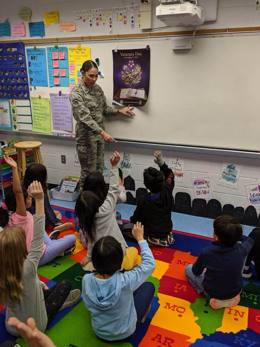 113th Wing Public Affairs Officer 1st Lt. Melissa Heintz visited students from Fairhill Elementary School in Fairfax, Va., where she talked about the history behind #VeteransDay, and her role in the D.C. National Guard.