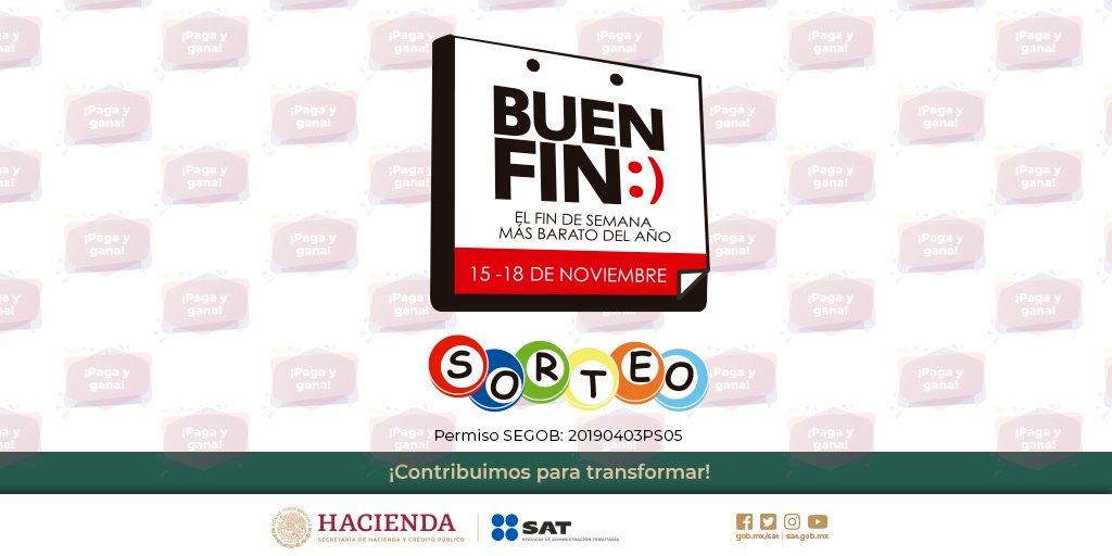 ¡Paga con tarjeta durante #ElBuenFin y prepárate para el Sorteo! 🥳🎉Puedes ganar un premio mayor de $250,000 o el reembolso aproximado de tu compra, hasta por $20,000.  Participan solo las operaciones realizadas en los comercios registrados en la página de @ElBuenFin ✅
