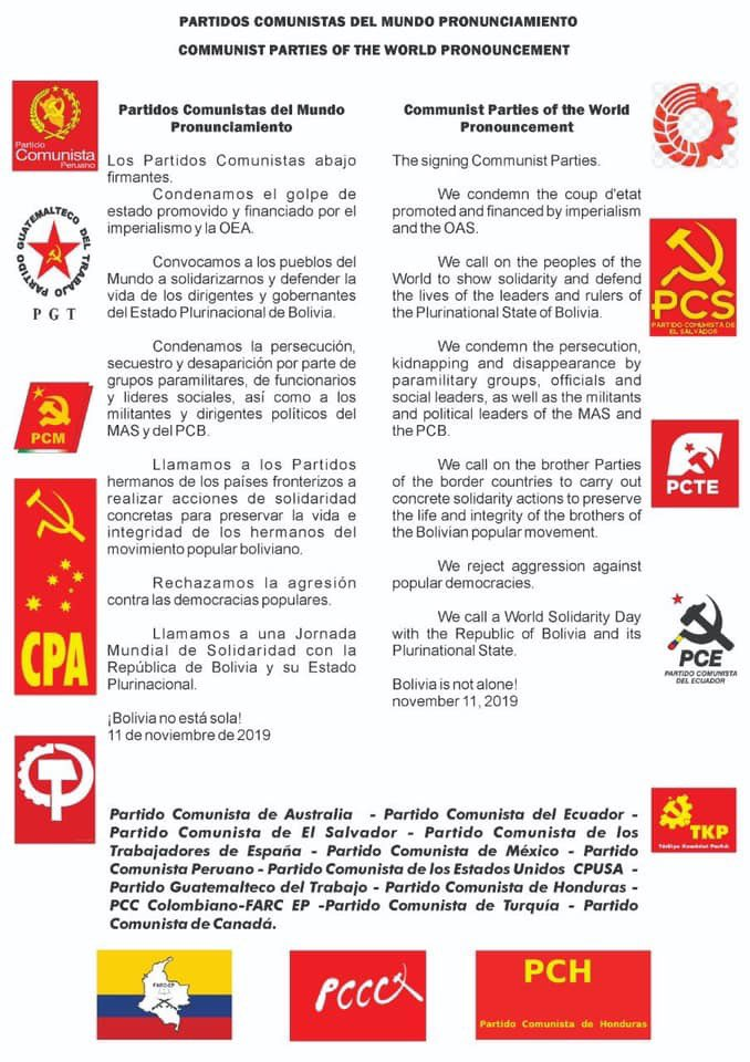 A joint statement signed by various Communist Parties (including ours) around the globe condemning the right-wing coup against Bolivia's indigenous-led socialist government. #EvoElMundoContigo #StopImperialism #WeStandWithEvo #BoliviaResiste @evoespueblo<br>http://pic.twitter.com/Ixc998CNBM