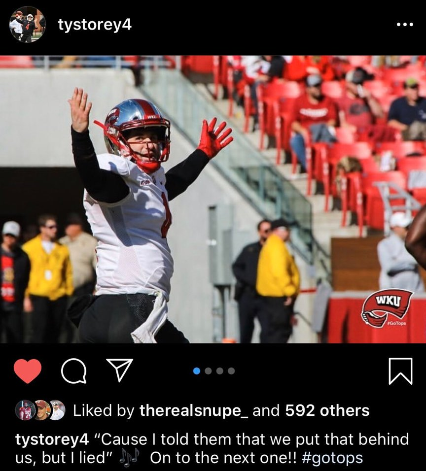 Chad Morris said that Ty Storey wasn't good enough to play for him at Arkansas.   Ty Storey transferred to WKU. Over a year later he played Chad Morris and beat him 45-19 in his own stadium.   Chad Morris was fired the next day.   Legendary shit. pic.twitter.com/lYiyQnej8z