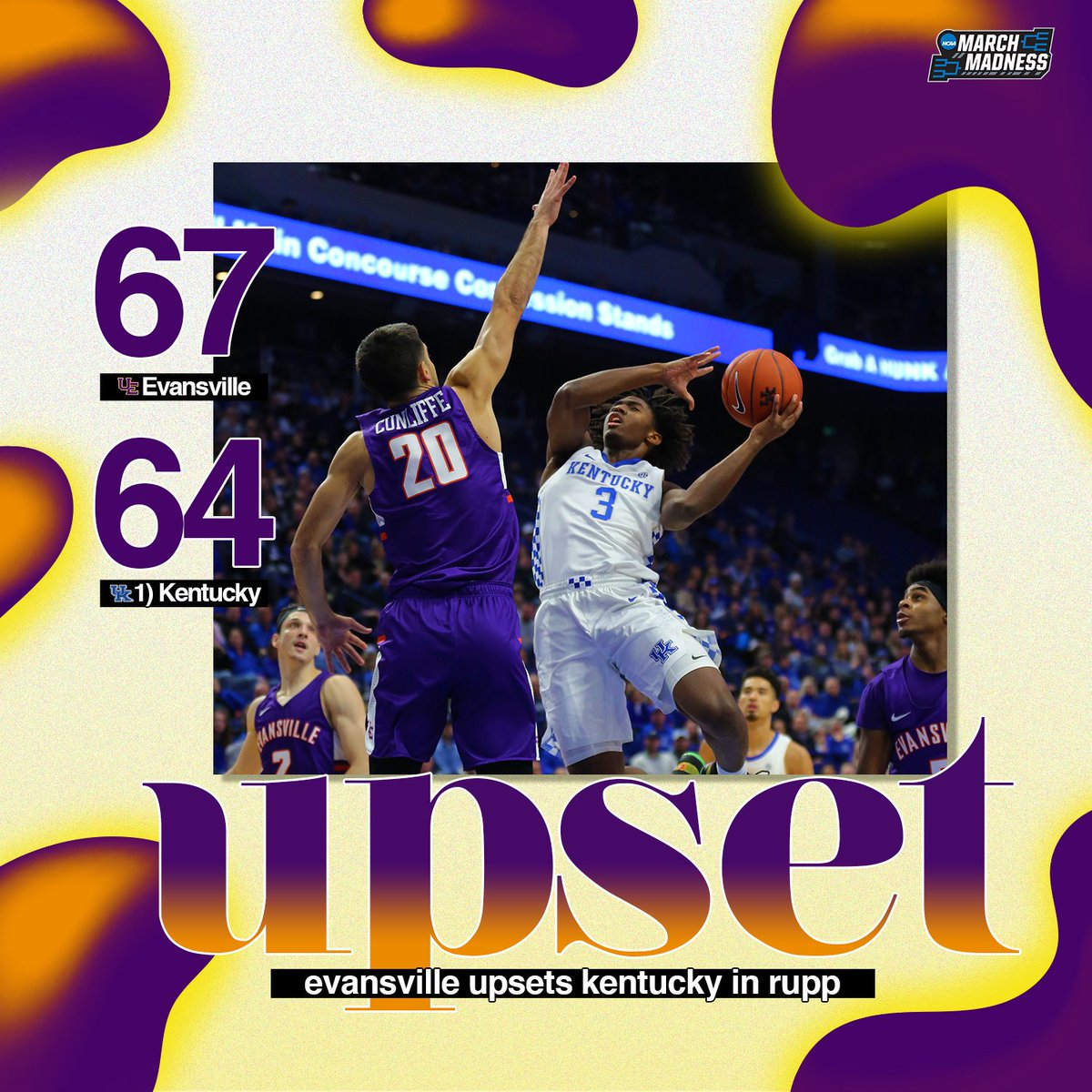 DOWN GOES NO. 1!   Evansville takes down No.1 Kentucky in Rupp Arena! #ForTheAces<br>http://pic.twitter.com/bUNqU6LSSb