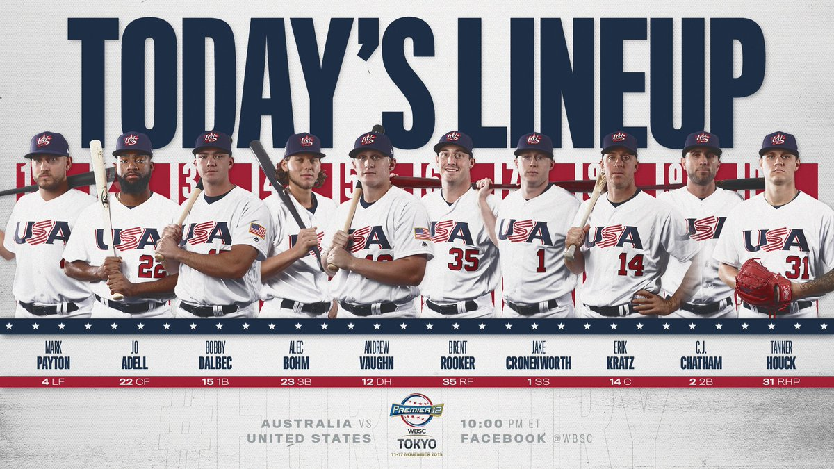 #Squad T-minus 1️⃣ hour until first pitch. #Premier12 #ForGlory🇺🇸