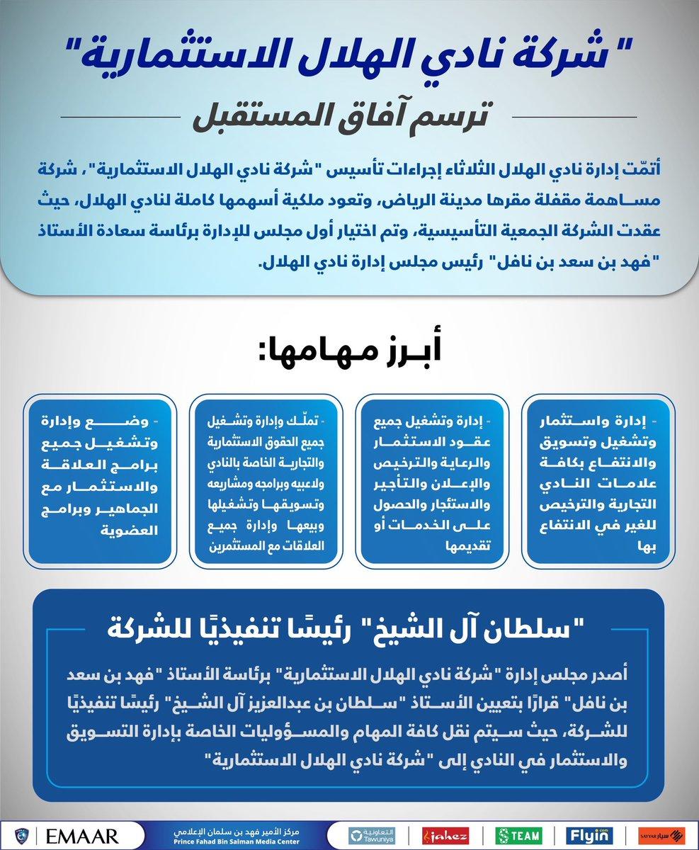 رياضة الجزيرة On Twitter كما تميزت الجزيرة الهلال يعلن عن إنشاء شركة نادي الهلال الاستثمارية ويعلن تعيين سلطان آل الشيخ Alsheikhsultan رئيس ا تنفيذي ا للشركة Https T Co J5fiz2bclo