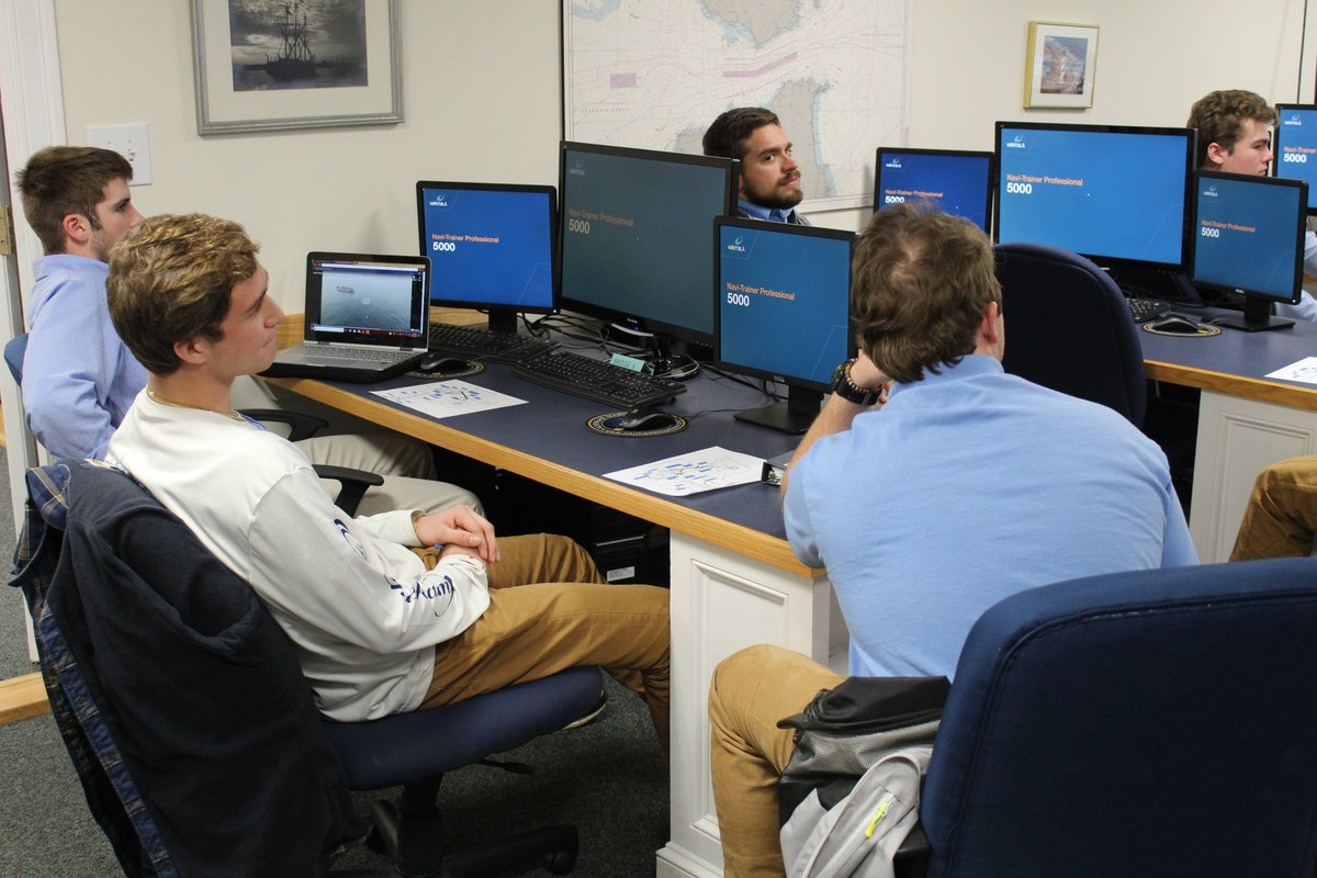 At Northeast Maritime Institute, we invite prospective students to shadow our students to their classes and labs for an entire day. Here we see, Parker Moulton from Falmouth High School interacting with our students in their Intro to Shiphandling class with Inst. Rachel Perron.