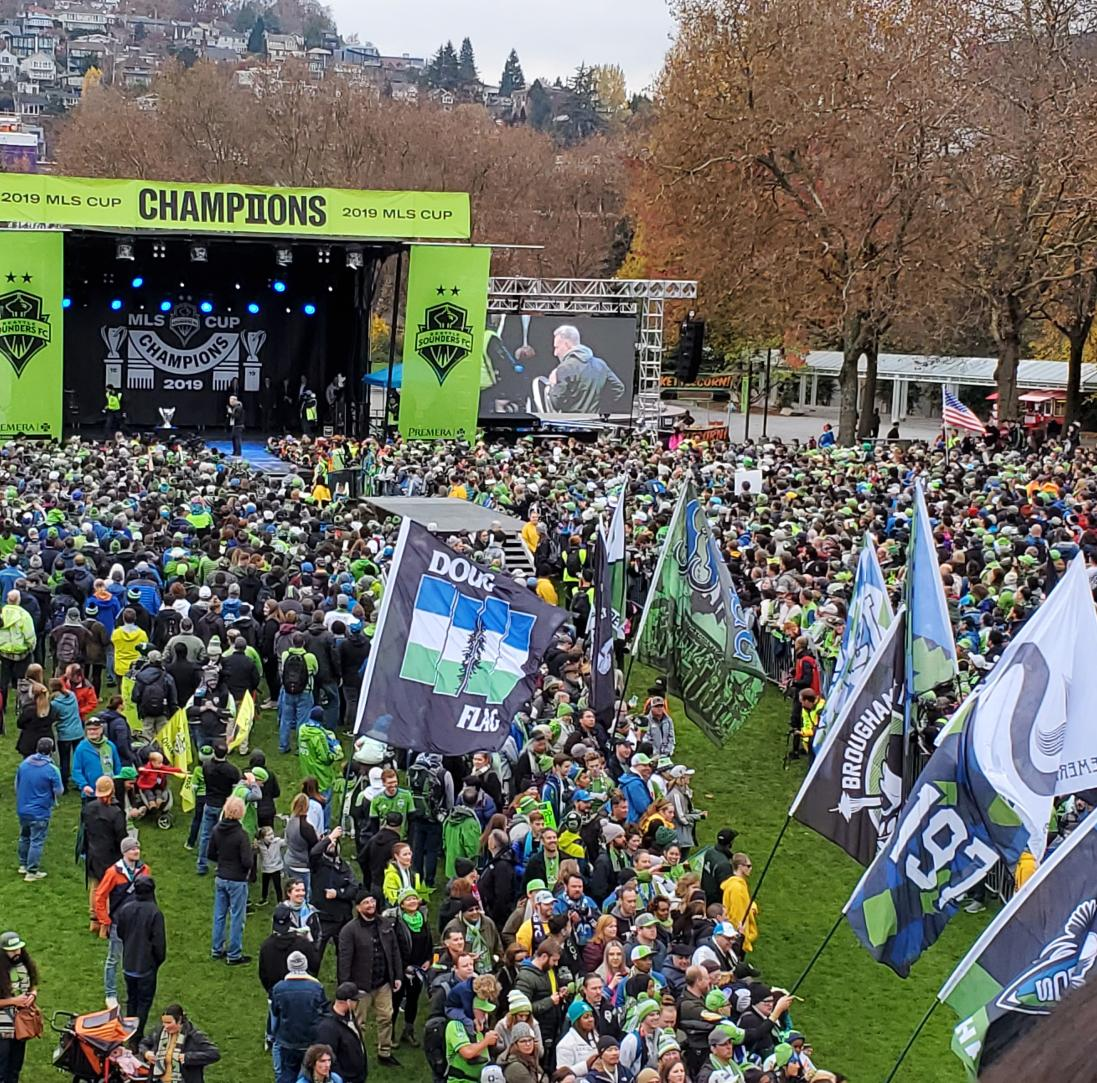 Another big CONGRATS to #SeattleSounders !  Thrilling to be here rallying the #MLSCupChamps !