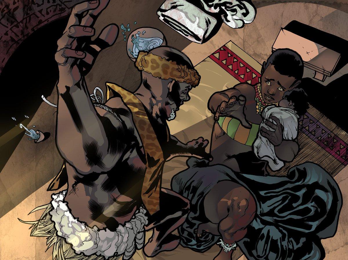 Colour by @artbyatlas0 added to the the panel I shared a few days ago. I just love how this one turned out.  #indiecomics #comicbooks #comics #ShakaZulu #Zulu #sequentialart #panelart #BTS  #comingsoon #kickstartercomics #allhailtheking<br>http://pic.twitter.com/V5wXsOUDau