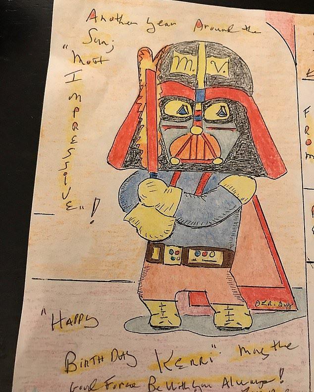 Wow, even the BTK Killer was a Star Wars fan. Good art, tho. Super cute Darth Vader! #btkkiller #serialkiller #starwars