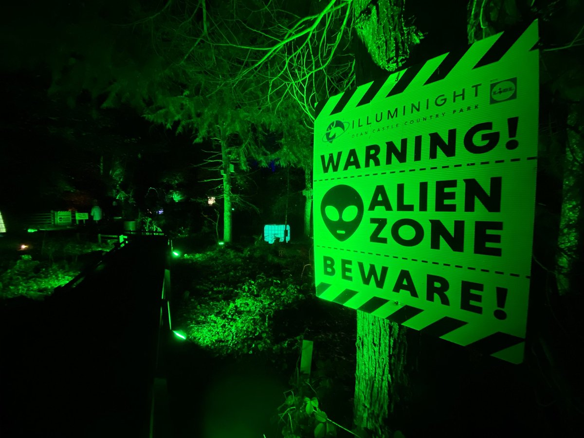 Was at a winter Illuminight event this evening with a space theme and stumbled onto an #Area51 section! Not quite what I was expecting but nice to see Groom Lake and aliens remaining part of popular culture 👽 #TheTruthIsOutThere #IwantToBelieve