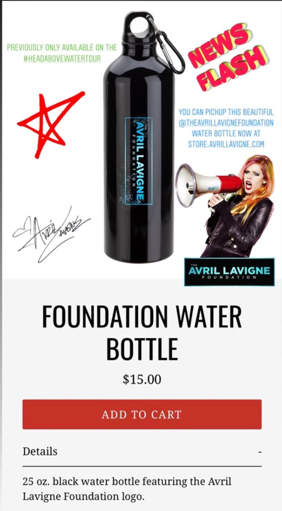 Previously only available on @AvrilLavigne 's #HeadAboveWaterTour You can pickup the EXCLUSIVE @AvrilFoundation water bottle online now!   #theavrillavignefoundation #AvrilLavigne