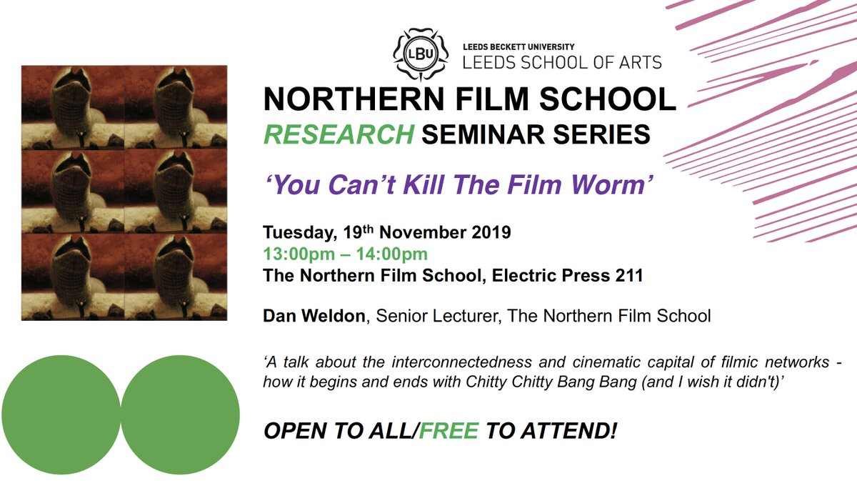 Hold the front pages!📽️The Films in My Life📽️research seminar series continues Tues lunchtime,19.11.19 with @shhhcinemaclub very own Dan Weldon discussing the interconnectedness & cinematic capital of filmic networks! Bound 2 b a genuine showstopper! @NFSFilmTV @LBU_LSA 👇info 👇 https://t.co/r8rv92uQ1n