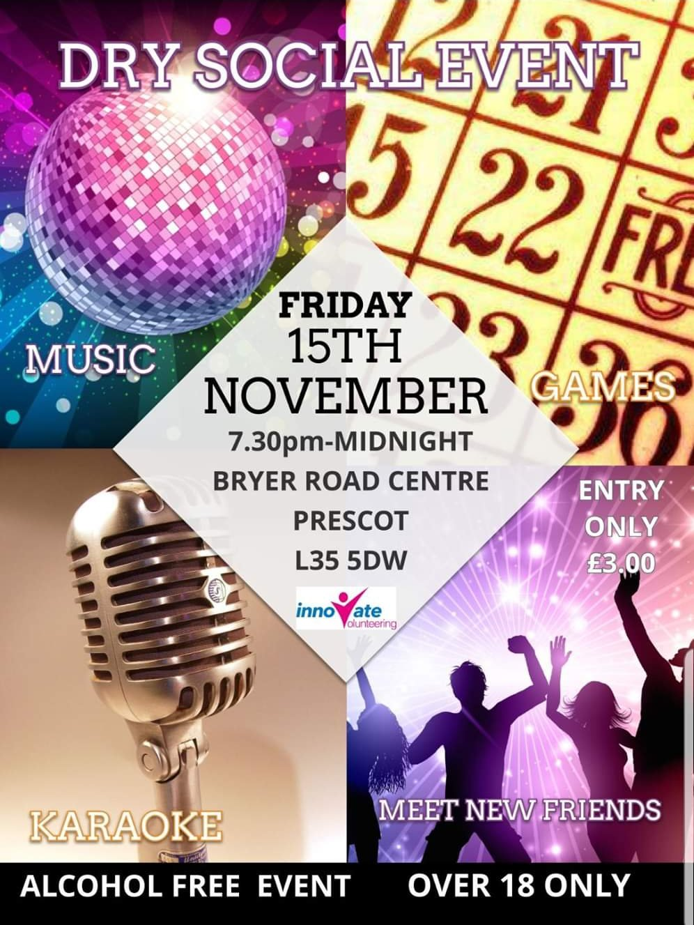 Dry Social Event - Alcohol Free event for over 18's