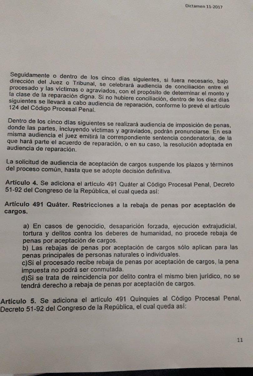 test Twitter Media - Esta es la enmienda aprobada al artículo 4 de las reformas al Código Procesal Penal, de la iniciativa de aceptación de cargos. https://t.co/qUy5xietea