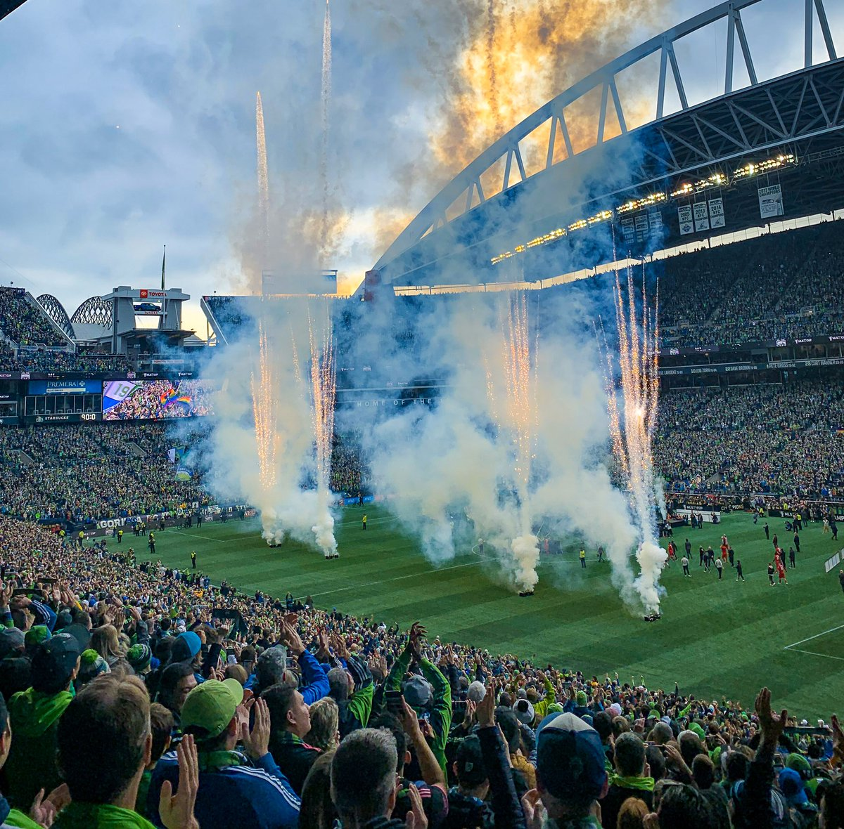 We can't get over the fact that this was Sunday 💙💚🏆 #GoSeattle