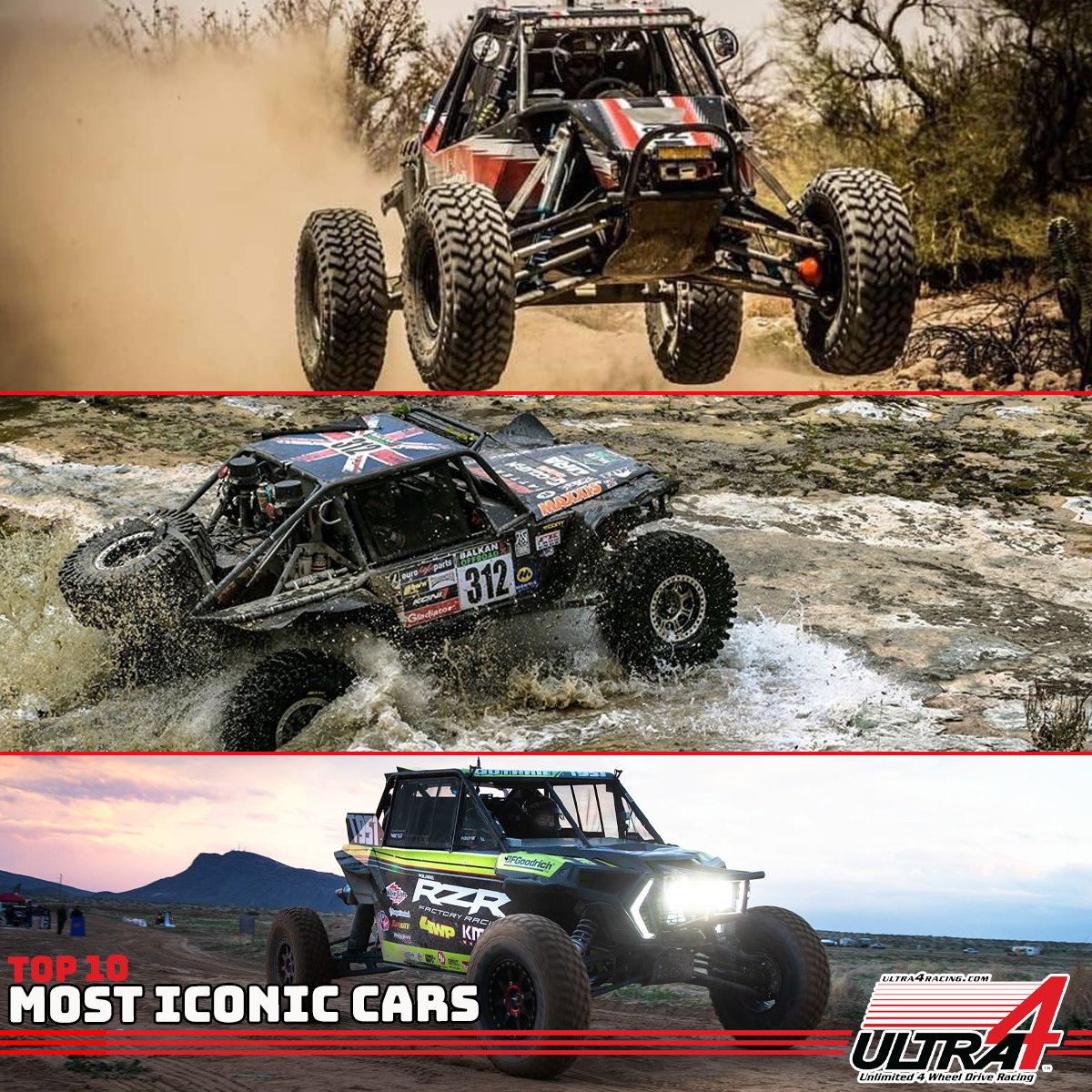 Weve got some amazing contenders for the Top 10 Most Iconic Ultra4 Cars list -- heres one last chance to nominate your favorites! Nominees will be voted on by drivers and the Top 10 will be revealed leading up to #KOH2020! #Ultra4 #KingoftheHammers #MostIconicCar