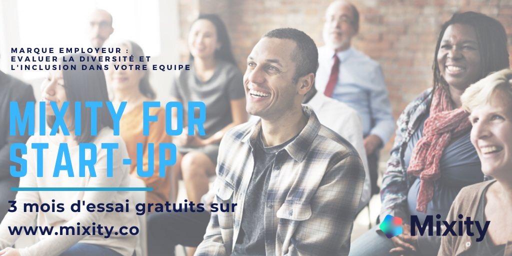 #Mixité 🔛 TOP opération pour les #startups ! Avec @Mixity_co 1ère plateforme d'empreinte #digitale pour mesurer la #diversité et l'#inclusion de votre équipe ! ✅ 3 mois d'essai gratuits ✅ Rejoindre le «programme startup pilote» ici 👉🏼http://bit.ly/2X68B7n - #inclusion