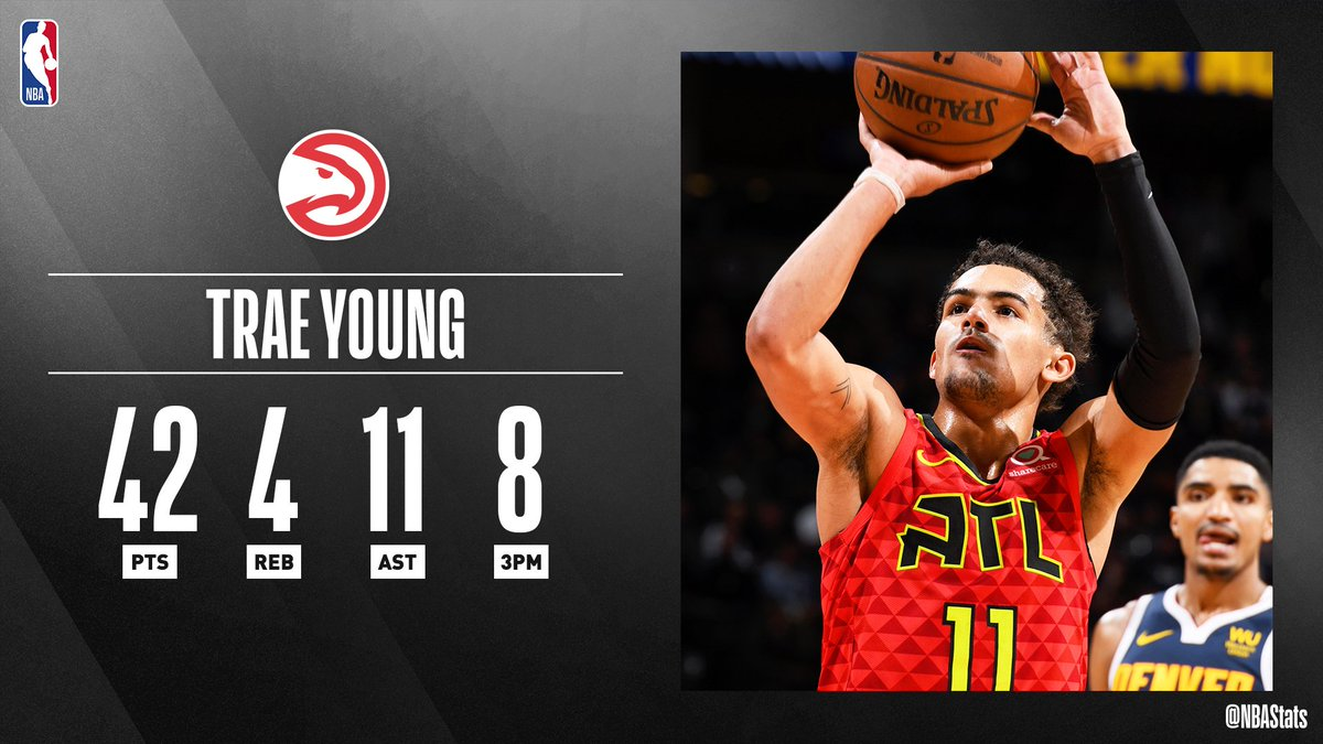 ❄️ At 21 years old, @TheTraeYoung becomes the youngest player in @NBAHistory to record at least 30 PTS and 10 AST in 3-straight games! #SAPStatLineOfTheNight