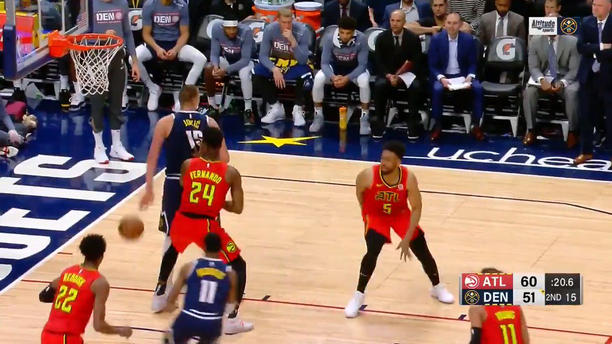 👀 Jokic with eyes in the back of his head! 👀 #MileHighBasketball   Watch Live: http://nba.app.link/leaguepass2