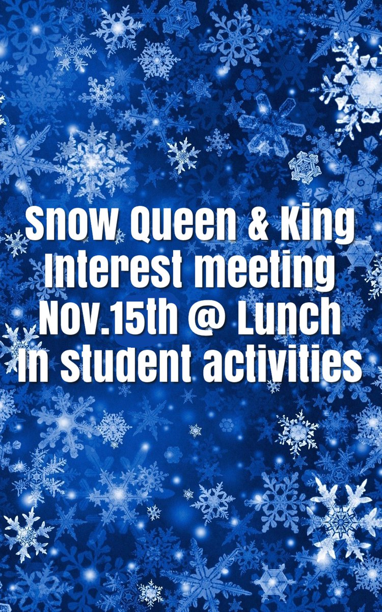 Want to be a snow queen or king? Come to the interest meeting FRIDAY!! https://t.co/O7K2cMANPF