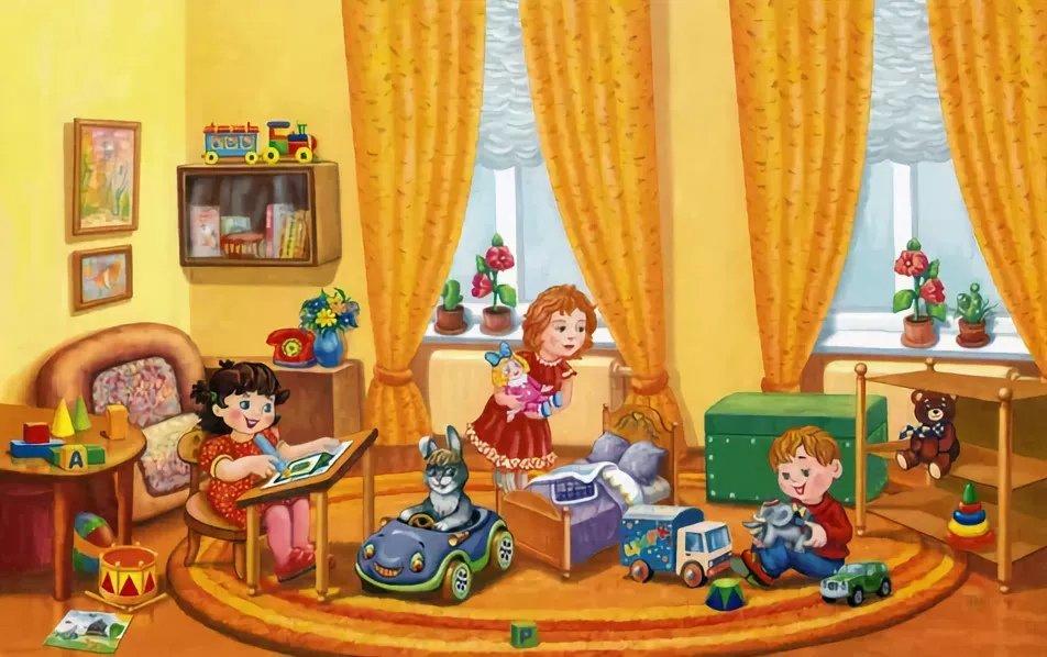Сюжетные картинки дети играют в игрушки