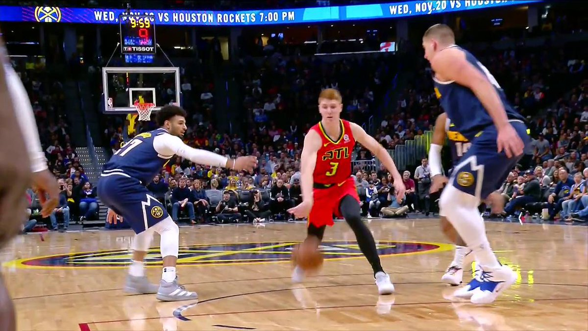 Kevin Huerter heads back to the locker room after this foul from Nikola Jokic.
