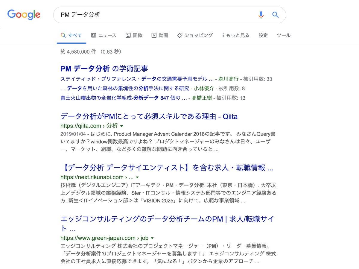 データ分析は必須って話多いなー。Googleで「PM データ分析」で検索すると、学術記事の下で1位取ってるQiitaの記事は昨年アドベントカレンダーで僕が書いたやつです!せっかくだからアピールしとく!#pmconfjp