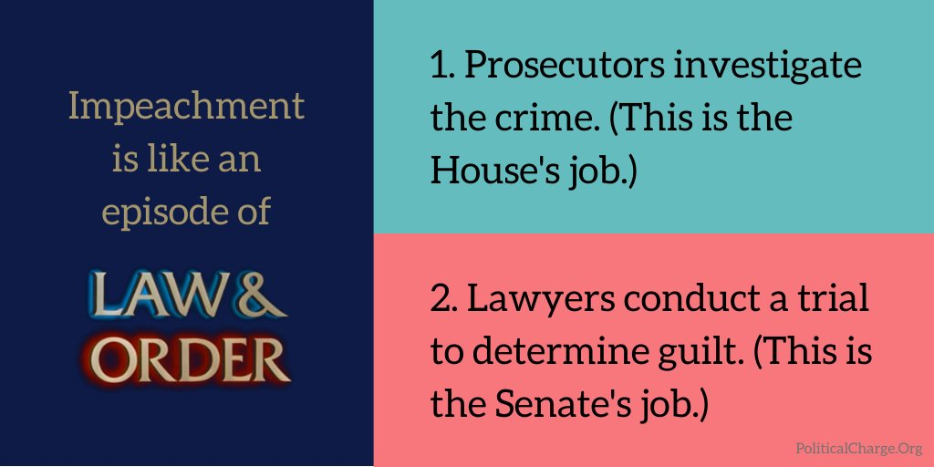 Trump and the GOP are about to flood the airwaves with misinformation, so be clear on how #impeachment works. Its just like Law & Order: