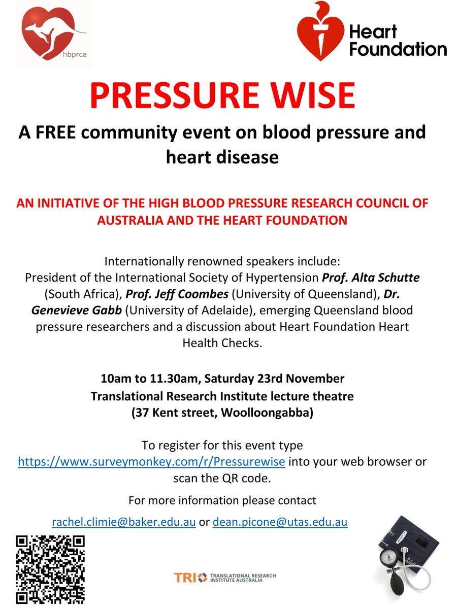 HAPPENING TOMORROW our free #public event on high #bloodpressure in #Brisbane All welcome! @heartfoundation @TRI_info