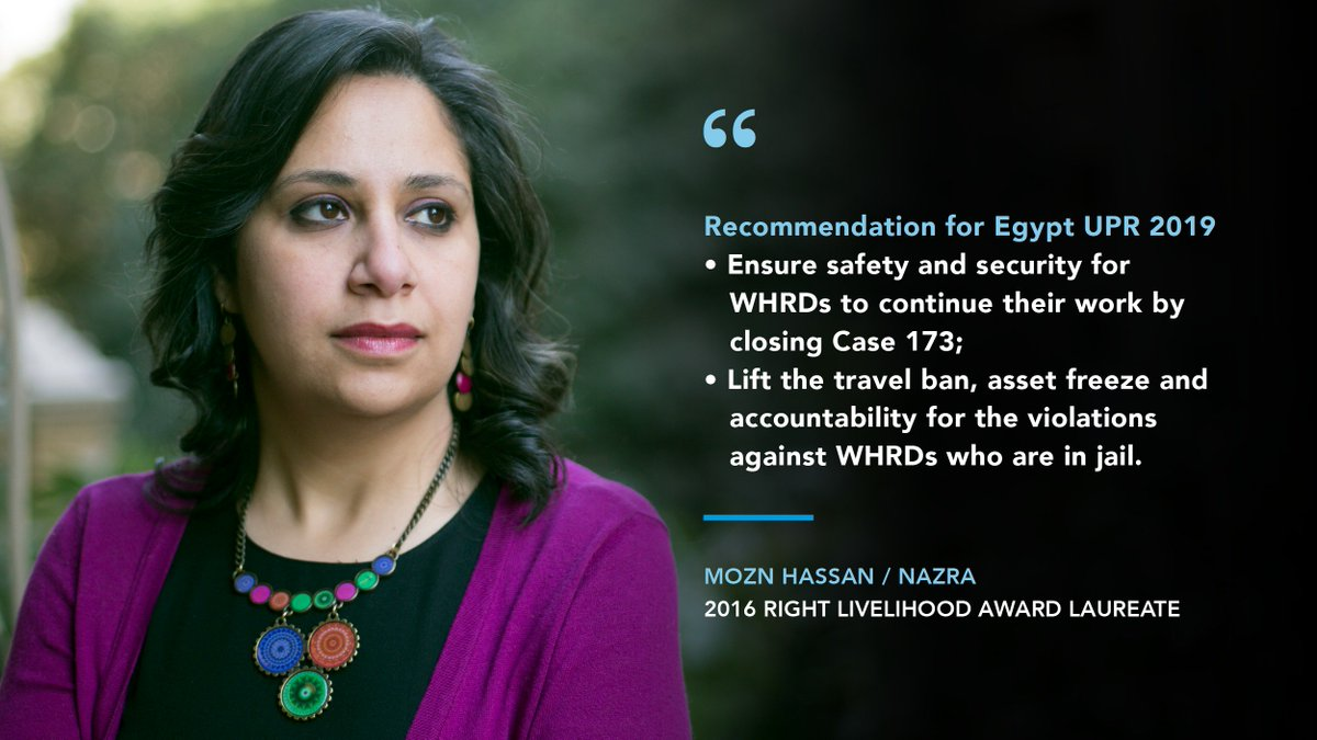 #UPR34: @NLinGeneva recommends the release of all people imprisoned solely for freedom of expression, assembly & association and close Case 173/2011 against  NGOs.  #RightLivelihoodAward Laureate @Mozn @NazraEgypt is among the NGOs targeted by this case. #EgyptListenNow<br>http://pic.twitter.com/3pPaGVAyvN