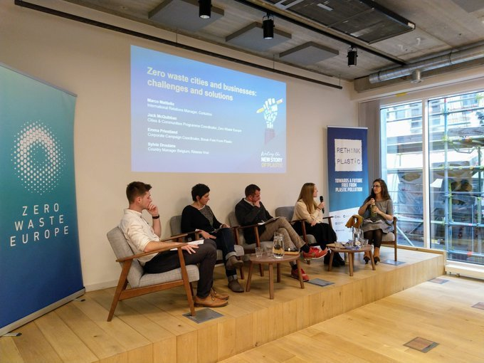 Our event with @RethinkPlastic  is underway in Brussels.   #breakfreefromplastic  Corporate Coordinator @Emma_Priestland  puts forward our view:   recycling is not enough - companies need to take responsibility for the part they play in #plasticpollution  💪