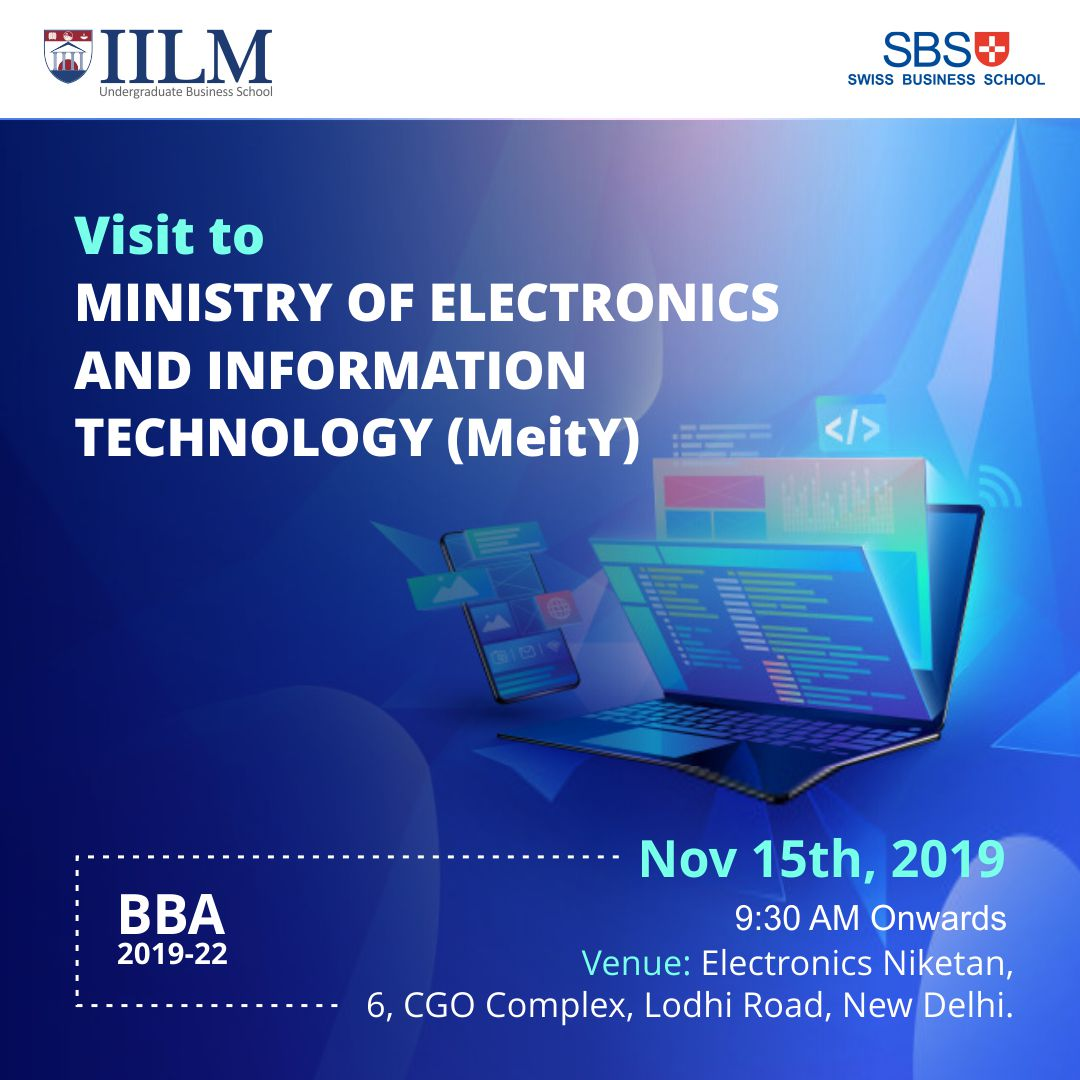 #Students of IILM, #LodhiRoad will visit the Ministry of Electronics and Information Technology (MeitY) on November 15, 2019 to learn about best practices in E-Governance.   #MyIILM #IILMUBS #BestBSchool #CompanyVisit #PGDM #IILM #IILMAlumni #management #Businesspic.twitter.com/mmFWYyFEAS
