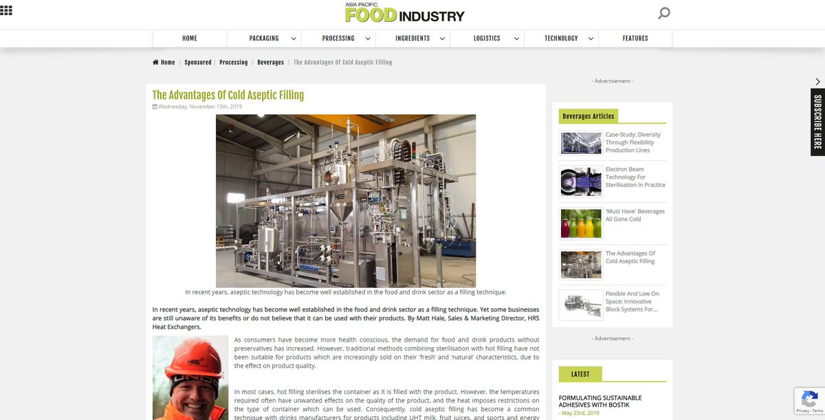 test Twitter Media - In recent years, aseptic technology has become well established in the food and drink sector as a filling technique. Read more https://t.co/6aJnBhNtSf as featured @APFOOD_Asia. #asepticfiller #foodprocessing #heatexchangers #foodtechnology https://t.co/Y1btSyyMFA