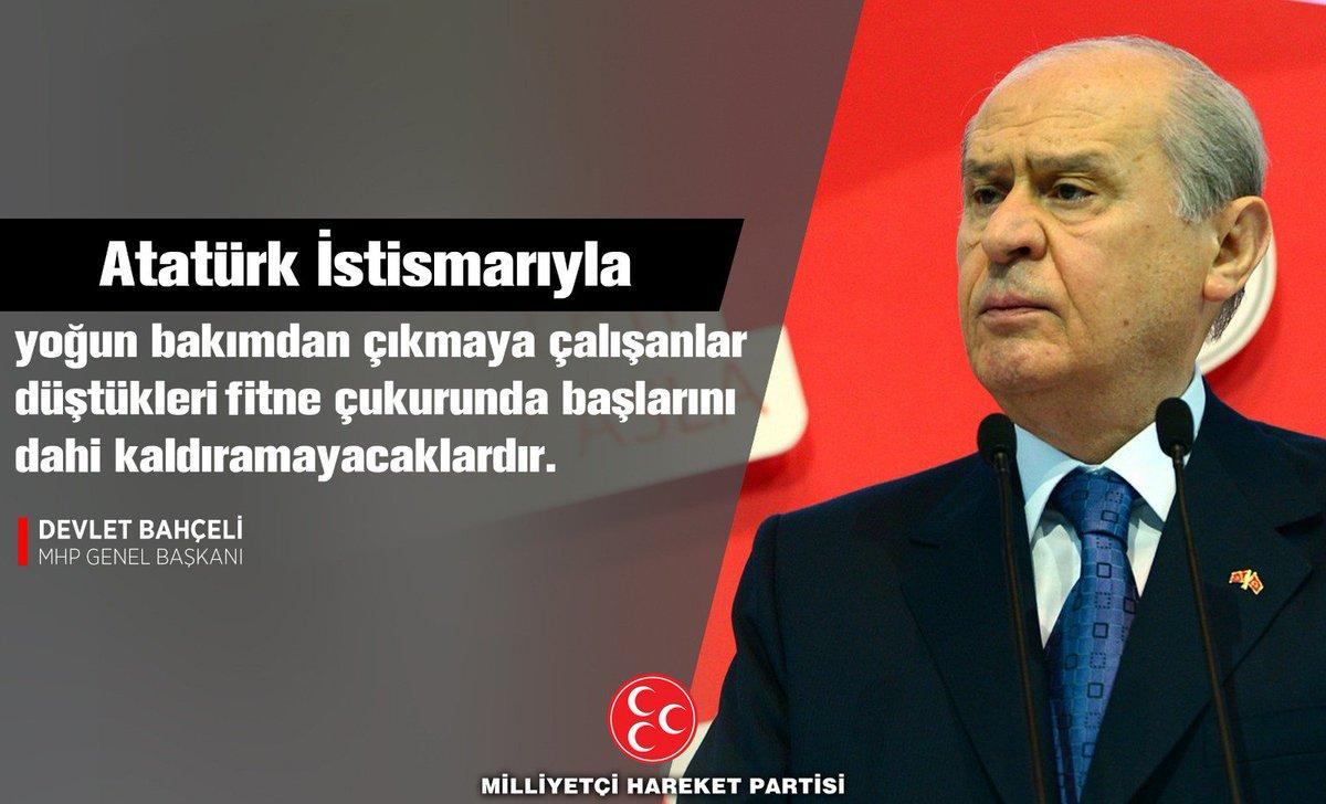 Atatürk istismarıyla yoğun bakımdan çıkmaya çalışanlar düştükleri fitne çukurunda başlarını dahi kaldırmayacaklardır.  MHP Genel Başkanı Devlet BAHÇELİ