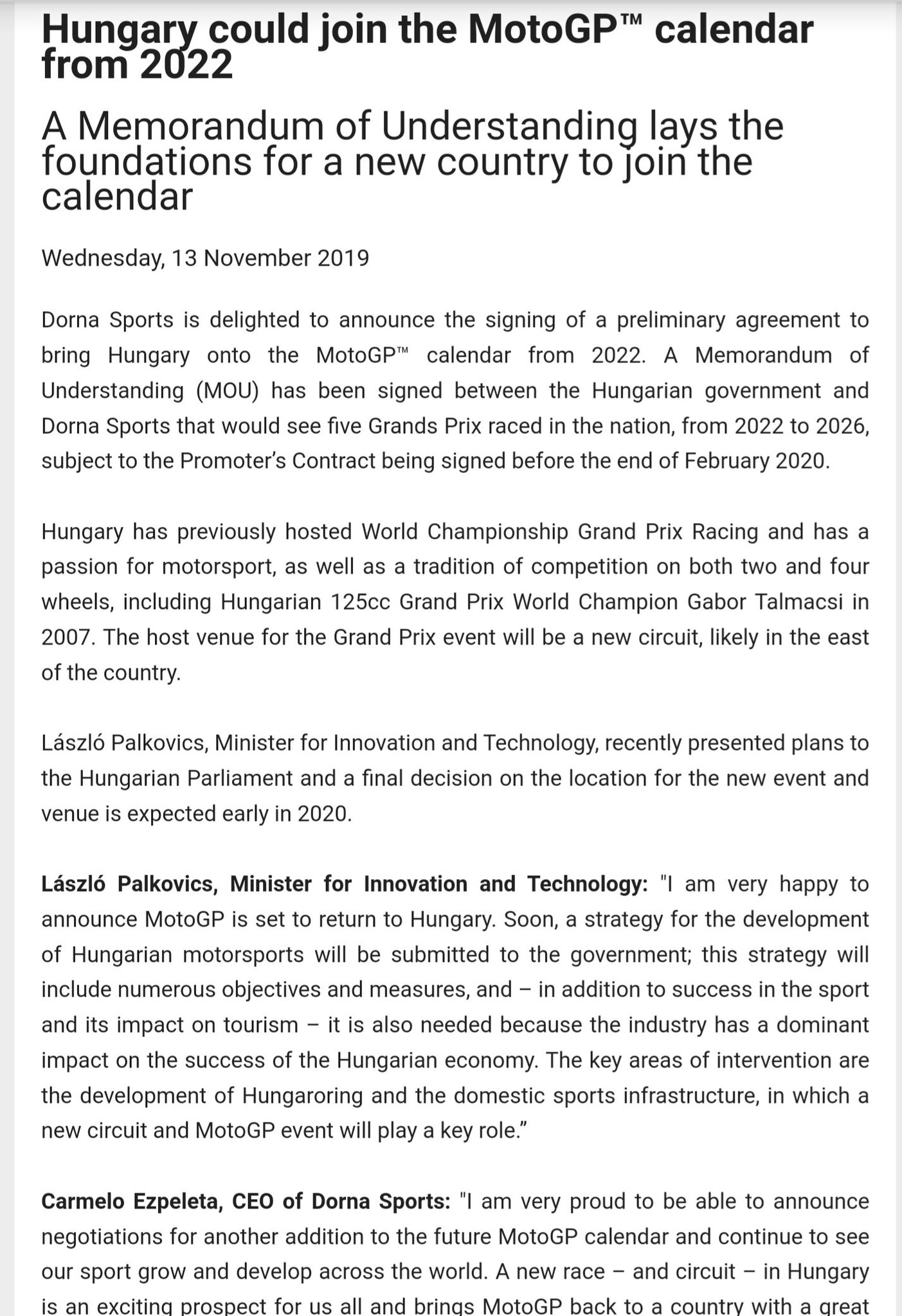 Motogp Calendar 2022.David Emmett On Twitter Hungary To Join The Motogp Calendar In 2022 We Have Heard This One Before A New Circuit To Be Built In The East Of The Country Of Course