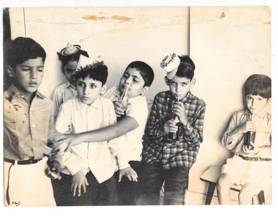 "Original ""Coca Cola"" advertisement. Boney Kapoor,Aditya Kapoor, Rishi Kapoor,Tutu Sharma and that cute brat Anil Kapoor( photo courtesy Khalid Mohammed)"