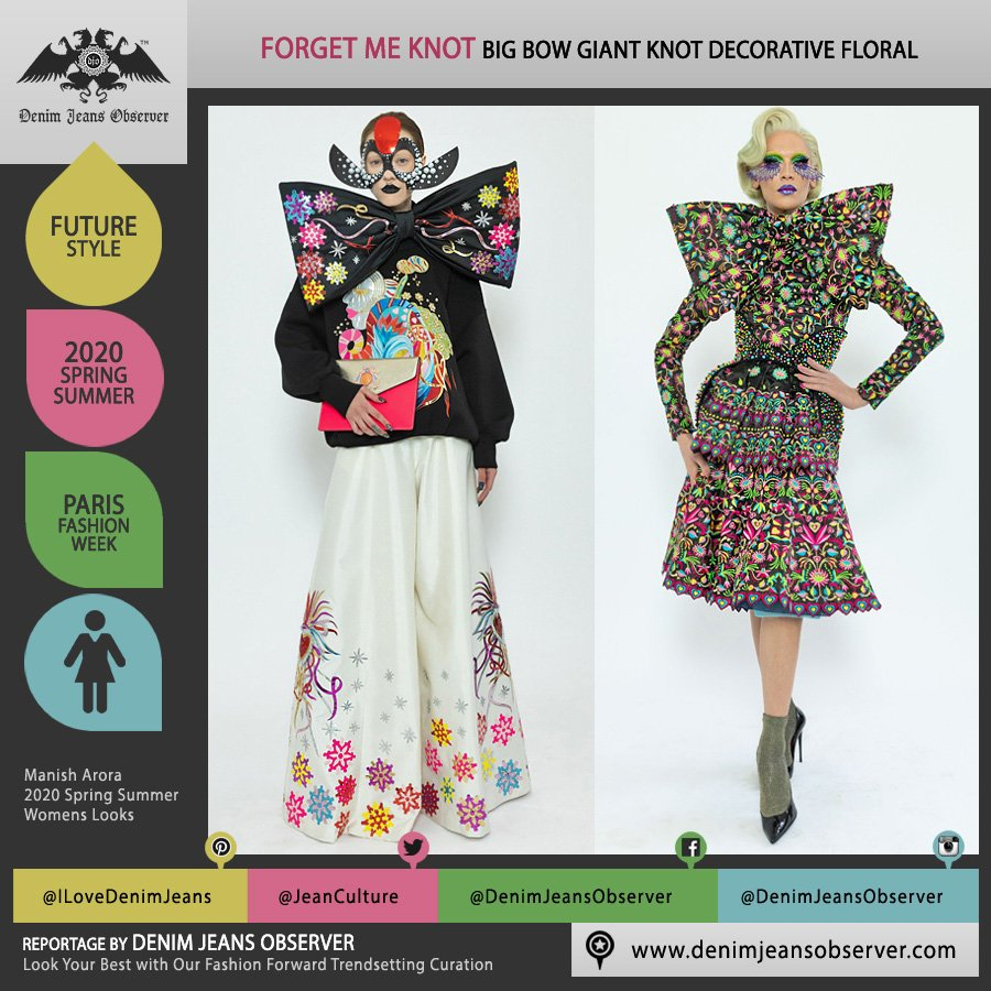 Manish Arora 2020 Spring Summer Womens Lookbook Presentation - Mode à Paris Fashion Week France - Giant Big Oversized Bow Knot Ribbon Decoarative Art Flowers Floral Snowflakes Mask Wide Leg Palazzo Pants Sweater Purse - Fashion Forward Trendsetting Curation by Denim Jeans Observer
