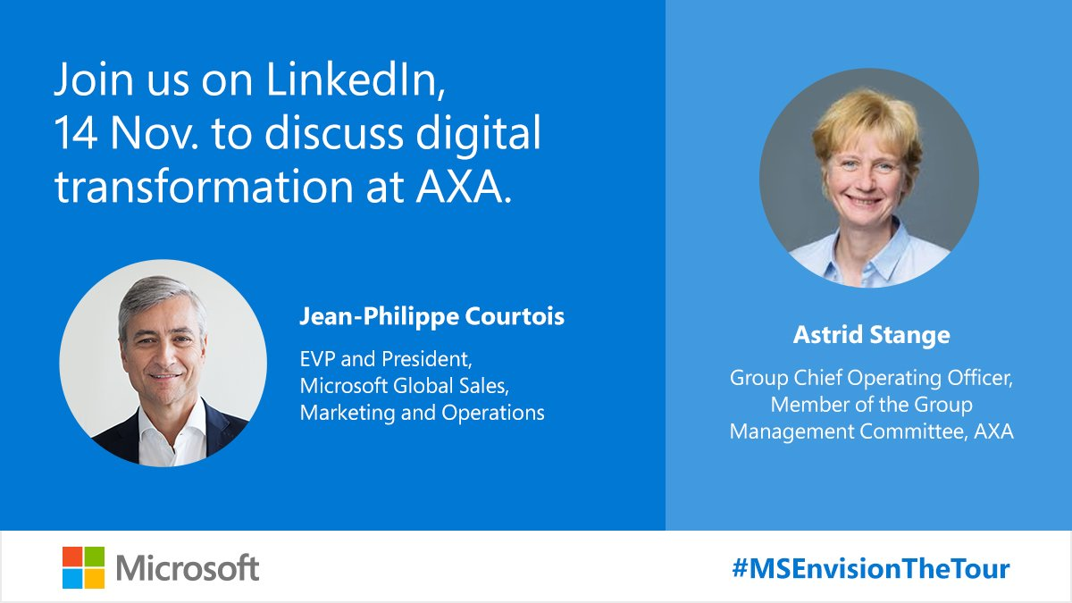 I'll be having a conversation with Astrid Stange on LinkedIn tomorrow, Thursday, 14 November from Envision Paris! Follow along as we discuss the cultural shift underlying the digital transformation she is leading at @AXA.