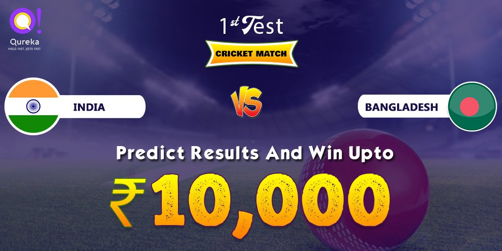 India vs Bangladesh, 1st Test Match tomorrow | Predict Results & Win Upto ₹10,000😍 | Stay closer to Cricket, always!#kheloFastJeetoFast #INDvSA #TeamIndia #ViratKohli #KheloFastJeetoFast #MegaQuiz #Qureka #indiawithisrael #INDvBAN