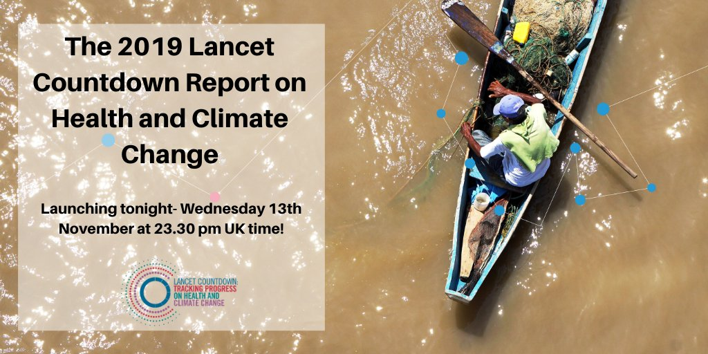 How is #climatechange affecting our #health? How is the world responding? #wildfires, food security, carbon pricing, air pollution exposure-  and much more! The latest #data will be available in our 2019 global report, launching 23.30pm UK time tonight! #LancetClimate19<br>http://pic.twitter.com/vWo4A3MgHy