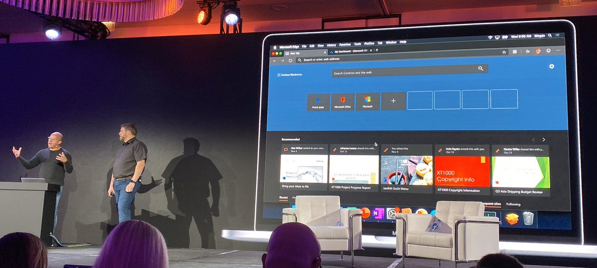 #JNUC2019 Keynotes by @Microsoft Corporate VP on how @JAMFSoftware integrates with @Azure. 🥳🥳  Then I saw #MicrosoftEdge dark mode on a #Mac ....   I have mixed feelings! 🧐🧐 What just happened?! 😳😳😳