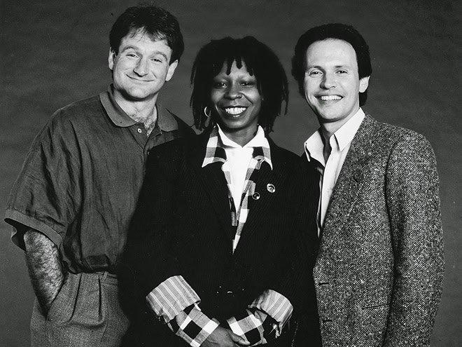 Robin Williams, Whoopi Goldberg, and Billy Crystal! Happy Birthday to Whoopi Goldberg!