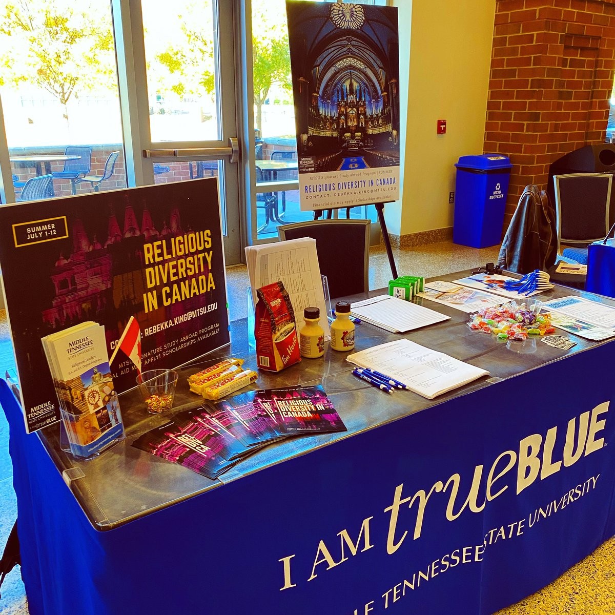 We are at the Study Abroad fair advertising Dr. King's Religious Diversity in Canada summer course. Come say hello and enter a trivia contest to win a Canadian themed prize! #mtsureligion #mtsuabroad #mtsu https://t.co/Dg54ihCMm2