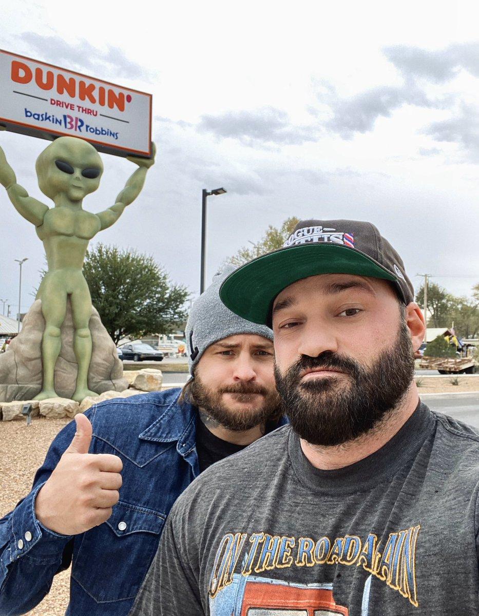 I think we found an alien 👽😜😂🤙🏻 #roswell #aliens #husbears #roadtrip 🛸 #area51 #bearded #WolfDeutschland #musclebear #hairymen #hairychest #trucker @InkedViking